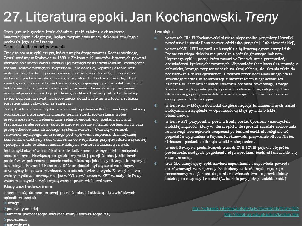 """Jan Kochanowski """"Odprawa posłów greckich Okoliczności powstania utworu Odprawa posłów greckich jest jedynym dramatem autorstwa Jana Kochanowskiego."""