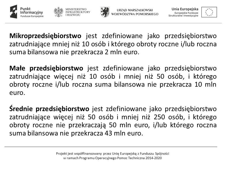 Projekt jest współfinansowany przez Unię Europejską z Funduszu Spójności w ramach Programu Operacyjnego Pomoc Techniczna 2014-2020 Mikroprzedsiębiorstwo jest zdefiniowane jako przedsiębiorstwo zatrudniające mniej niż 10 osób i którego obroty roczne i/lub roczna suma bilansowa nie przekracza 2 mln euro.