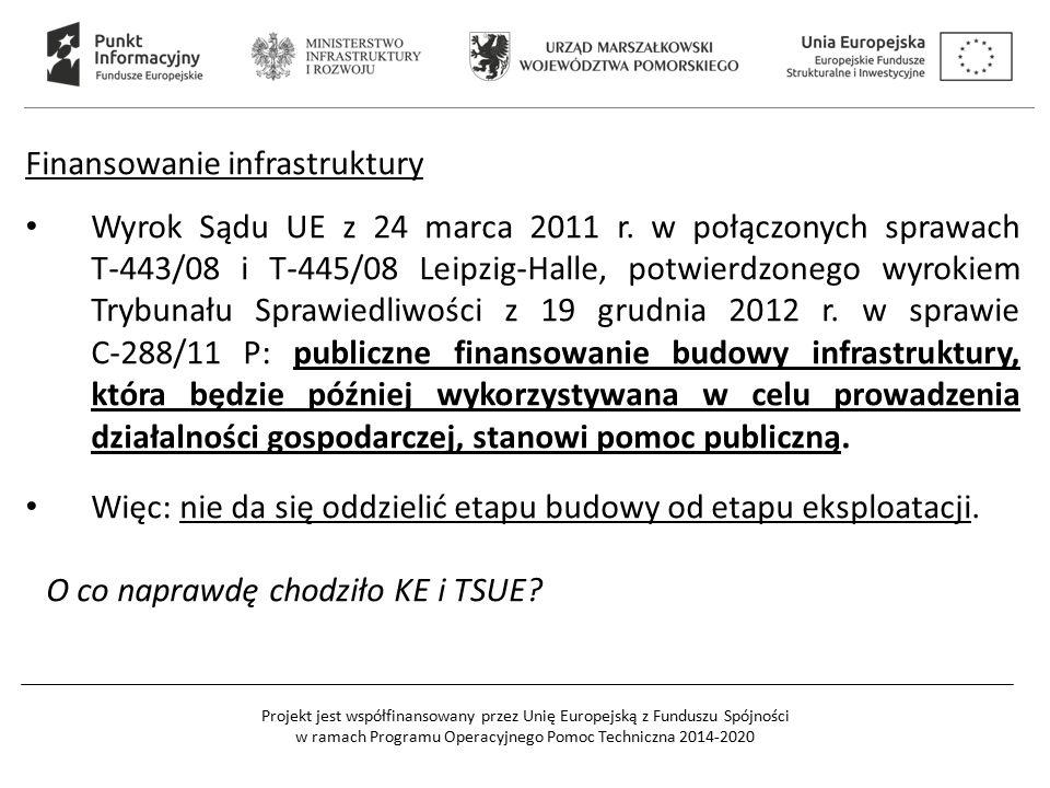 Projekt jest współfinansowany przez Unię Europejską z Funduszu Spójności w ramach Programu Operacyjnego Pomoc Techniczna 2014-2020 Finansowanie infrastruktury Wyrok Sądu UE z 24 marca 2011 r.