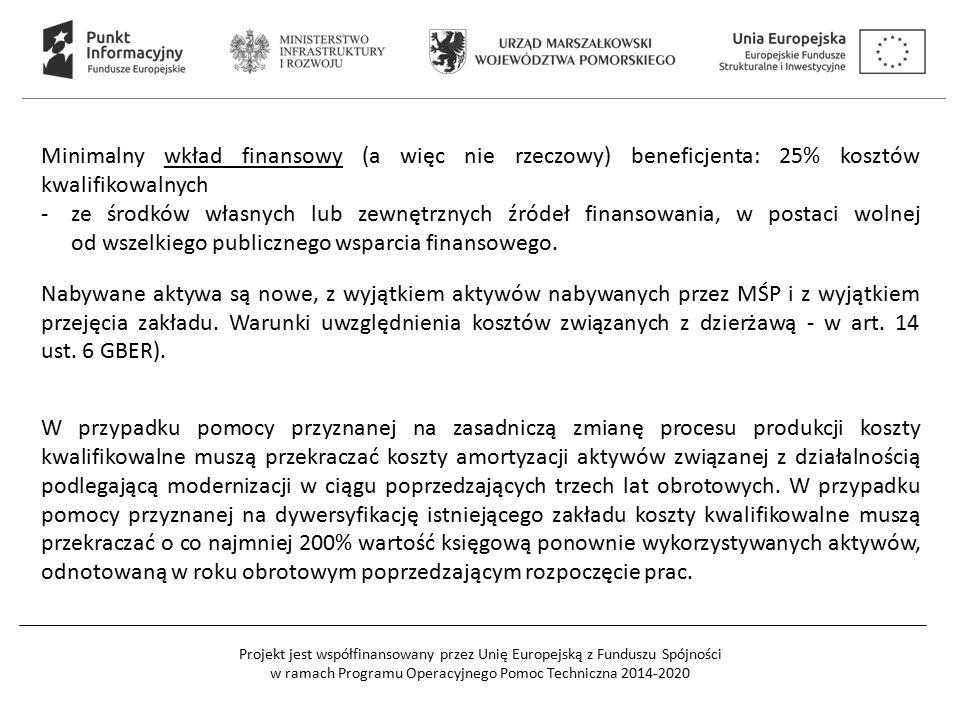Projekt jest współfinansowany przez Unię Europejską z Funduszu Spójności w ramach Programu Operacyjnego Pomoc Techniczna 2014-2020 Minimalny wkład finansowy (a więc nie rzeczowy) beneficjenta: 25% kosztów kwalifikowalnych -ze środków własnych lub zewnętrznych źródeł finansowania, w postaci wolnej od wszelkiego publicznego wsparcia finansowego.