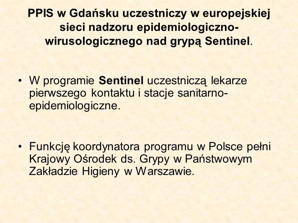 PPIS w Gdańsku uczestniczy w europejskiej sieci nadzoru epidemiologiczno- wirusologicznego nad grypą Sentinel. W programie Sentinel uczestniczą lekarz