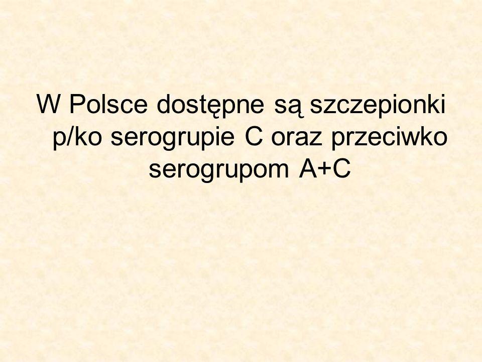 W Polsce dostępne są szczepionki p/ko serogrupie C oraz przeciwko serogrupom A+C