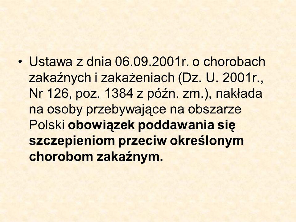 Ustawa z dnia 06.09.2001r. o chorobach zakaźnych i zakażeniach (Dz. U. 2001r., Nr 126, poz. 1384 z późn. zm.), nakłada na osoby przebywające na obszar