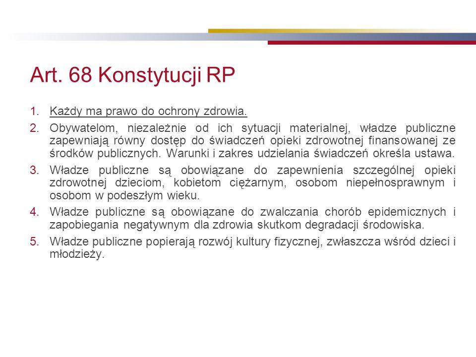 Art. 68 Konstytucji RP 1.Każdy ma prawo do ochrony zdrowia.
