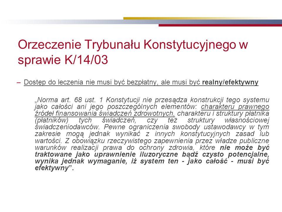 """Orzeczenie Trybunału Konstytucyjnego w sprawie K/14/03 –Dostęp do leczenia nie musi być bezpłatny, ale musi być realny/efektywny """"Norma art."""