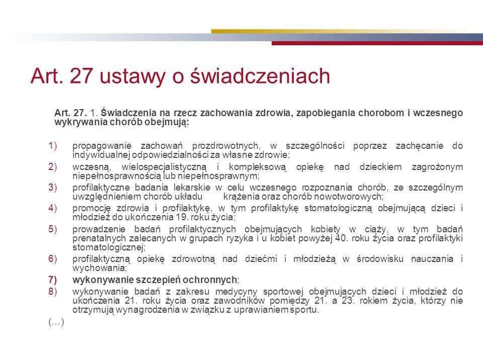 Art. 27 ustawy o świadczeniach Art. 27. 1.