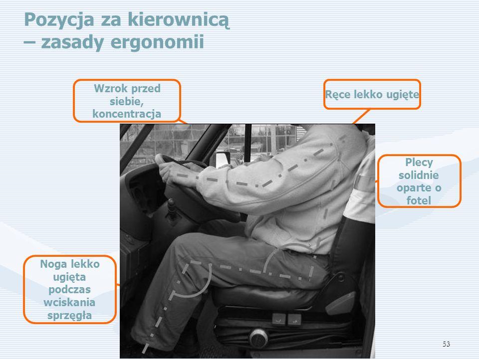 53 Pozycja za kierownicą – zasady ergonomii Ręce lekko ugięte Plecy solidnie oparte o fotel Noga lekko ugięta podczas wciskania sprzęgła Wzrok przed siebie, koncentracja