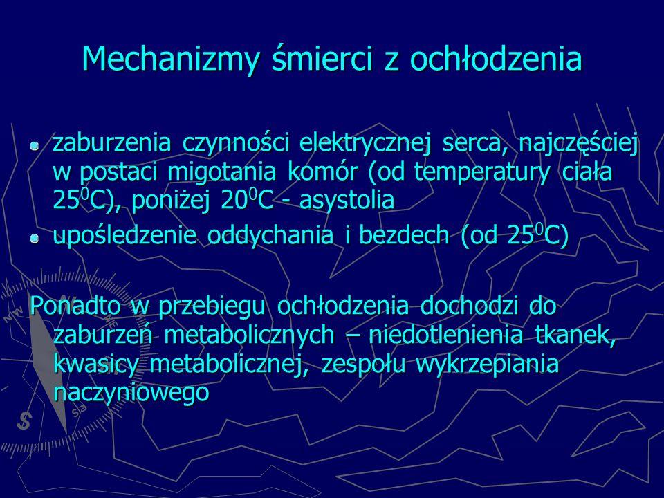 Mechanizmy śmierci z ochłodzenia zaburzenia czynności elektrycznej serca, najczęściej w postaci migotania komór (od temperatury ciała 25 0 C), poniżej 20 0 C - asystolia upośledzenie oddychania i bezdech (od 25 0 C) Ponadto w przebiegu ochłodzenia dochodzi do zaburzeń metabolicznych – niedotlenienia tkanek, kwasicy metabolicznej, zespołu wykrzepiania naczyniowego