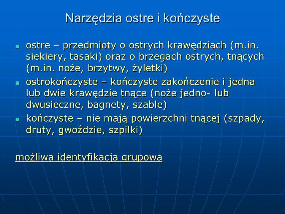 Narzędzia ostre i kończyste ostre – przedmioty o ostrych krawędziach (m.in.