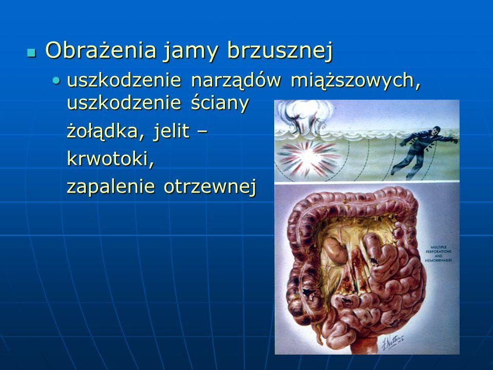 Obrażenia jamy brzusznej Obrażenia jamy brzusznej uszkodzenie narządów miąższowych, uszkodzenie ścianyuszkodzenie narządów miąższowych, uszkodzenie ściany żołądka, jelit – krwotoki, zapalenie otrzewnej