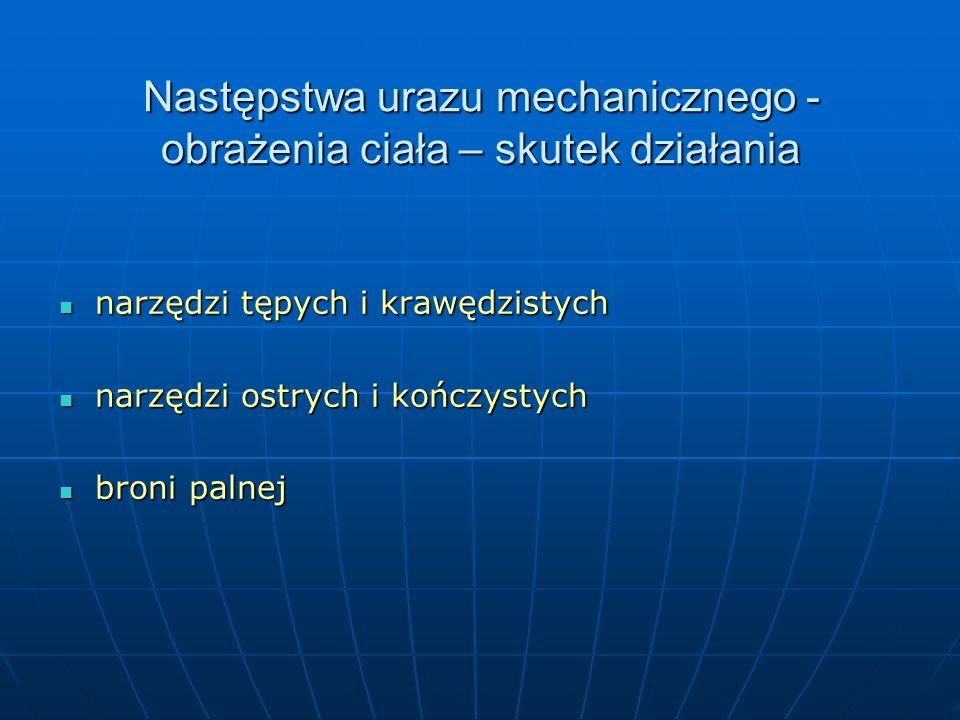 Narzędzia tępe i krawędziste przedmioty (m.in.