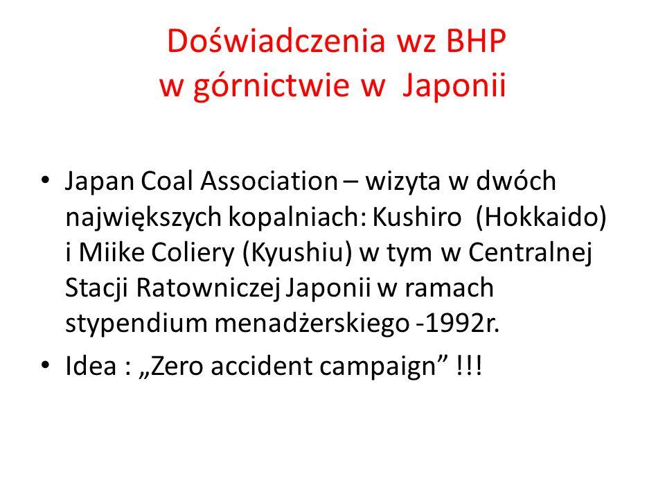 Doświadczenia wz BHP w górnictwie w Japonii Japan Coal Association – wizyta w dwóch największych kopalniach: Kushiro (Hokkaido) i Miike Coliery (Kyushiu) w tym w Centralnej Stacji Ratowniczej Japonii w ramach stypendium menadżerskiego -1992r.