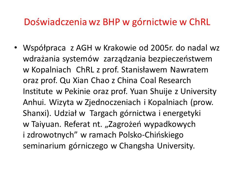 Doświadczenia wz BHP w górnictwie w ChRL Współpraca z AGH w Krakowie od 2005r.