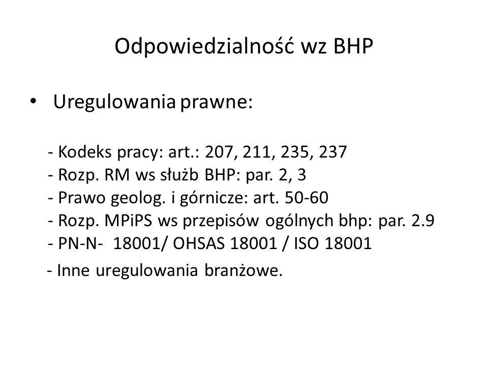 Odpowiedzialność wz BHP Uregulowania prawne: - Kodeks pracy: art.: 207, 211, 235, 237 - Rozp.