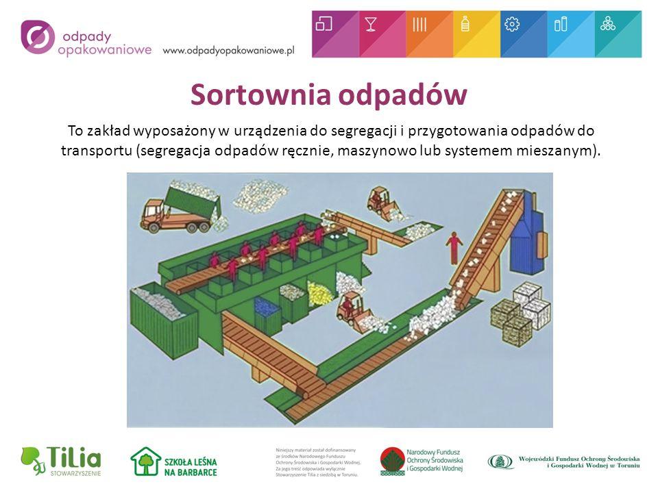 Sortownia odpadów To zakład wyposażony w urządzenia do segregacji i przygotowania odpadów do transportu (segregacja odpadów ręcznie, maszynowo lub systemem mieszanym).