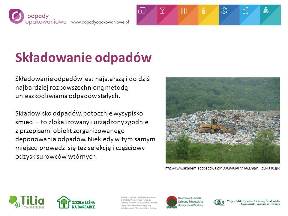 Składowanie odpadów Składowanie odpadów jest najstarszą i do dziś najbardziej rozpowszechnioną metodą unieszkodliwiania odpadów stałych.