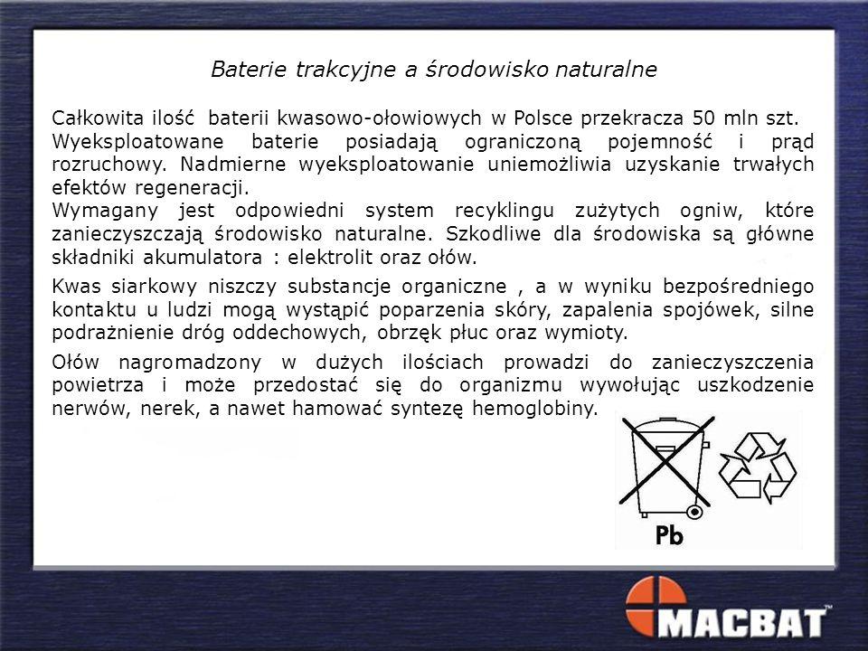 Baterie trakcyjne a środowisko naturalne Całkowita ilość baterii kwasowo-ołowiowych w Polsce przekracza 50 mln szt. Wyeksploatowane baterie posiadają