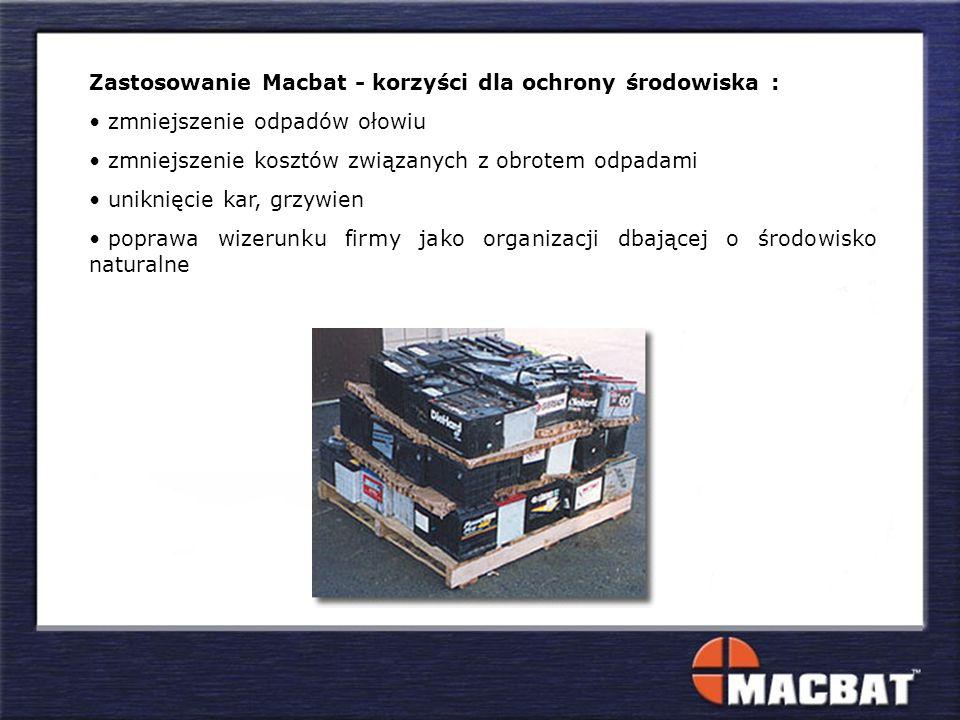 Zastosowanie Macbat - korzyści dla ochrony środowiska : zmniejszenie odpadów ołowiu zmniejszenie kosztów związanych z obrotem odpadami uniknięcie kar, grzywien poprawa wizerunku firmy jako organizacji dbającej o środowisko naturalne