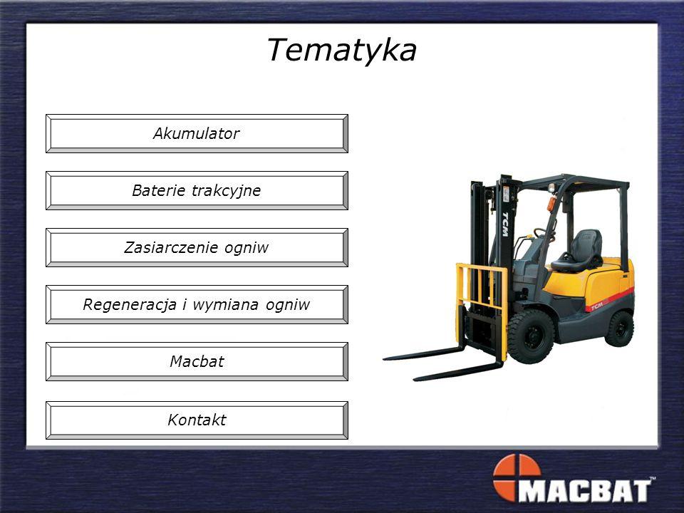 Tematyka Regeneracja i wymiana ogniw Zasiarczenie ogniw Baterie trakcyjne Akumulator Macbat Kontakt