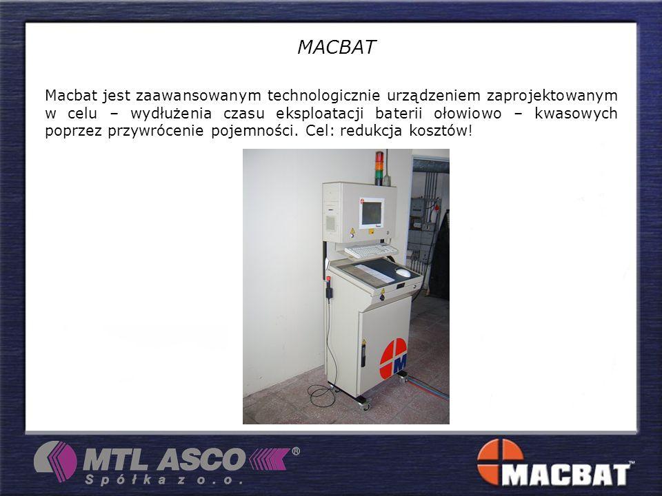 Macbat jest zaawansowanym technologicznie urządzeniem zaprojektowanym w celu – wydłużenia czasu eksploatacji baterii ołowiowo – kwasowych poprzez przywrócenie pojemności.