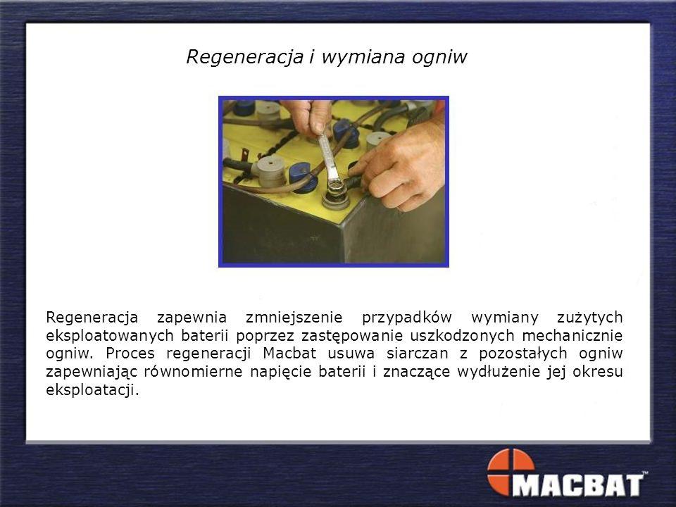 Regeneracja zapewnia zmniejszenie przypadków wymiany zużytych eksploatowanych baterii poprzez zastępowanie uszkodzonych mechanicznie ogniw.