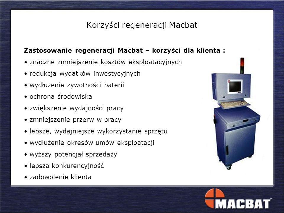 Zastosowanie regeneracji Macbat – korzyści dla klienta : znaczne zmniejszenie kosztów eksploatacyjnych redukcja wydatków inwestycyjnych wydłużenie żyw