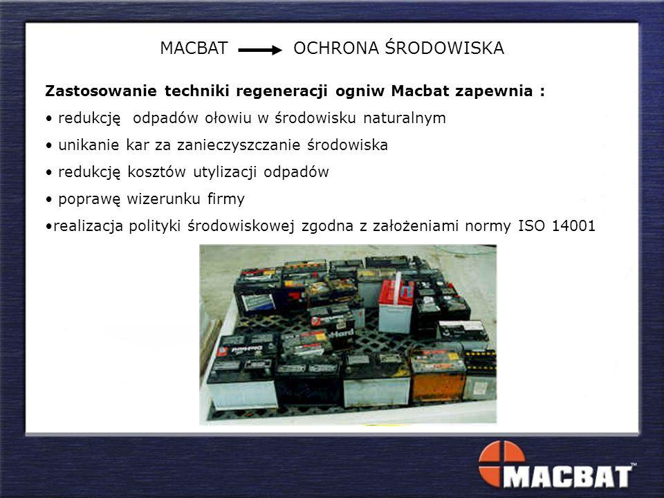 MACBAT OCHRONA ŚRODOWISKA Zastosowanie techniki regeneracji ogniw Macbat zapewnia : redukcję odpadów ołowiu w środowisku naturalnym unikanie kar za za