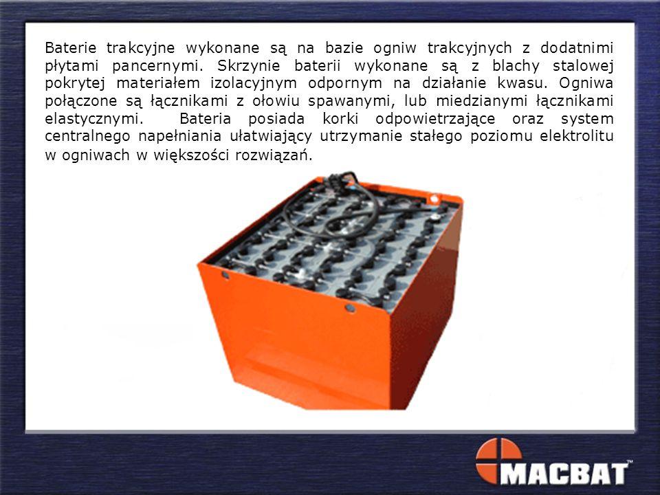 Baterie trakcyjne wykonane są na bazie ogniw trakcyjnych z dodatnimi płytami pancernymi.