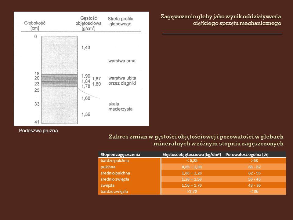 Zag ę szczanie gleby jako wynik oddzia ł ywania ci ęż kiego sprz ę tu mechanicznego Stopień zagęszczeniaGęstość objętościowa [kg/dm 3 ]Porowatość ogólna [%] bardzo pulchna< 0,85>68 pulchna0,85 – 1,0068 - 62 średnio pulchna1,00 – 1,2062 - 55 średnio zwięzła1,20 – 1,5055 - 43 zwięzła1,50 – 1,7043 - 36 bardzo zwięzła>1,70< 36 Podeszwa płużna