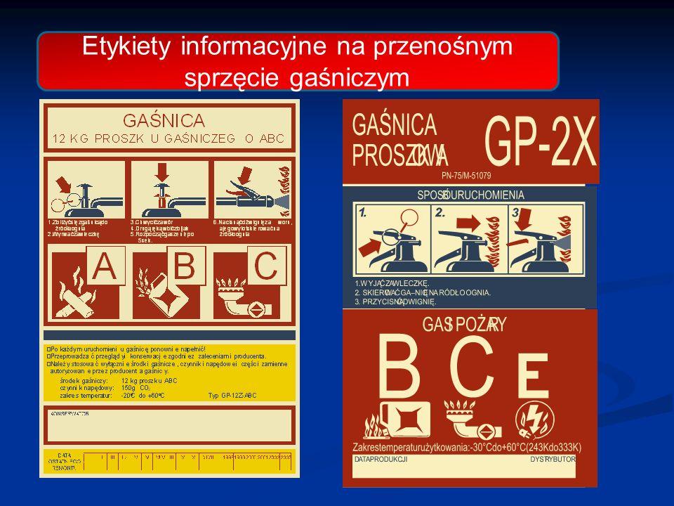 Etykiety informacyjne na przenośnym sprzęcie gaśniczym