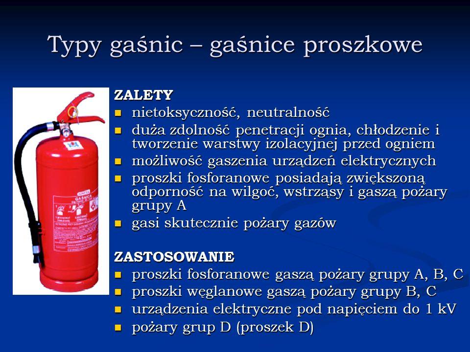 Typy gaśnic – gaśnice proszkowe ZALETY nietoksyczność, neutralność duża zdolność penetracji ognia, chłodzenie i tworzenie warstwy izolacyjnej przed og