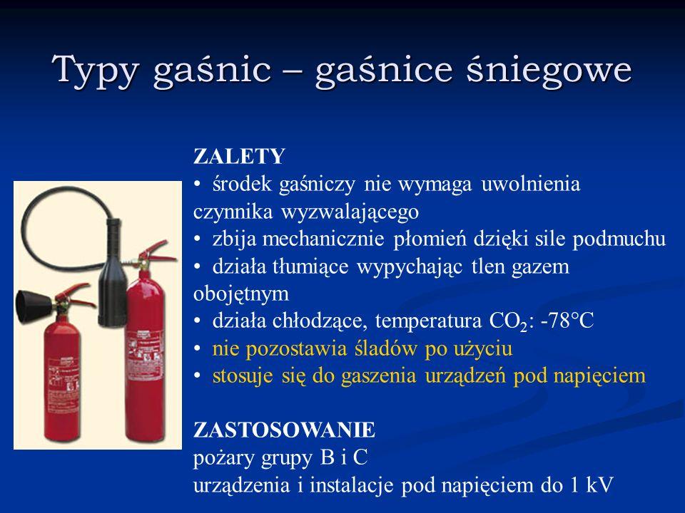 Typy gaśnic – gaśnice śniegowe ZALETY środek gaśniczy nie wymaga uwolnienia czynnika wyzwalającego zbija mechanicznie płomień dzięki sile podmuchu dzi