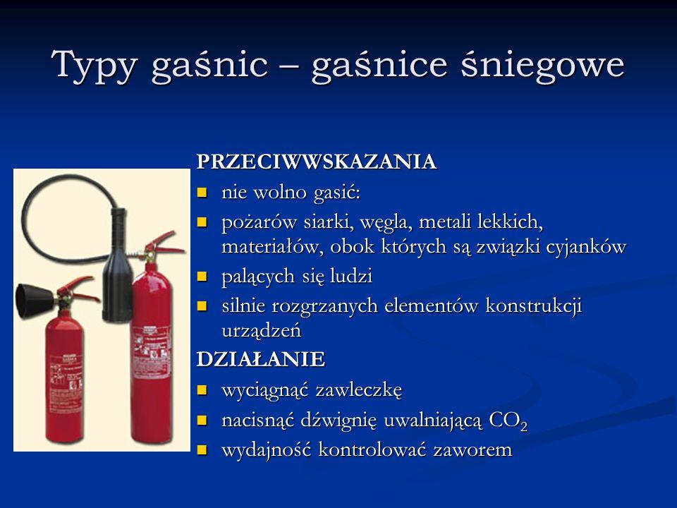 Typy gaśnic – gaśnice śniegowe PRZECIWWSKAZANIA nie wolno gasić: pożarów siarki, węgla, metali lekkich, materiałów, obok których są związki cyjanków p