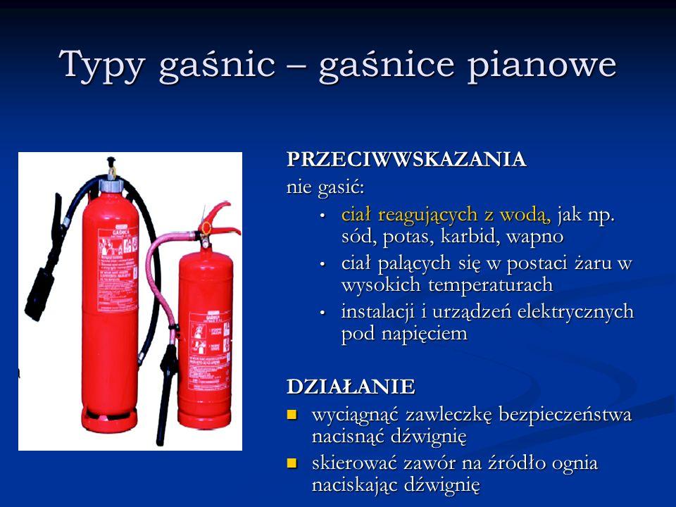 Typy gaśnic – gaśnice pianowe PRZECIWWSKAZANIA nie gasić: ciał reagujących z wodą, jak np. sód, potas, karbid, wapno ciał palących się w postaci żaru