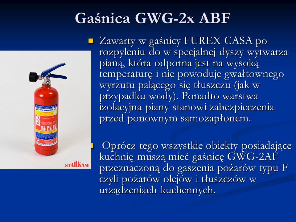 Gaśnica GWG-2x ABF Zawarty w gaśnicy FUREX CASA po rozpyleniu do w specjalnej dyszy wytwarza pianą, która odporna jest na wysoką temperaturę i nie powoduje gwałtownego wyrzutu palącego się tłuszczu (jak w przypadku wody).