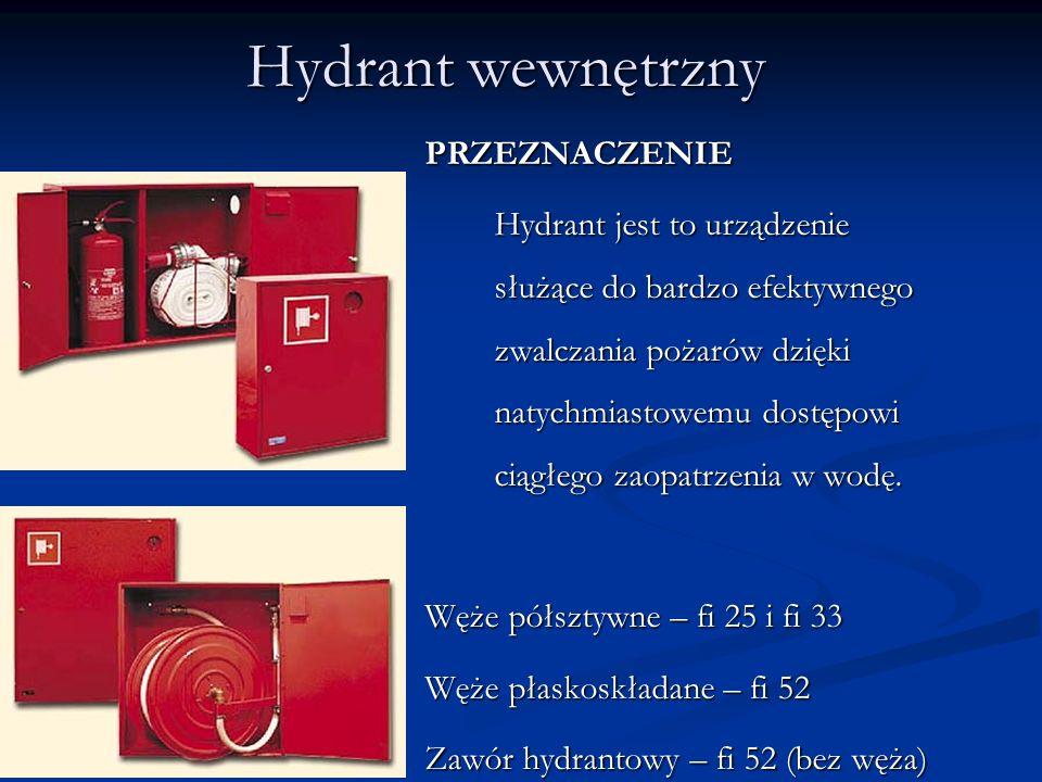Hydrant wewnętrzny PRZEZNACZENIE Hydrant jest to urządzenie służące do bardzo efektywnego zwalczania pożarów dzięki natychmiastowemu dostępowi ciągłego zaopatrzenia w wodę.