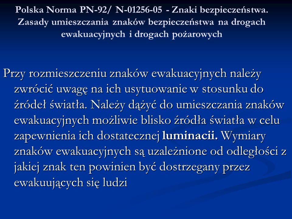 Polska Norma PN-92/ N-01256-05 - Znaki bezpieczeństwa. Zasady umieszczania znaków bezpieczeństwa na drogach ewakuacyjnych i drogach pożarowych Przy ro