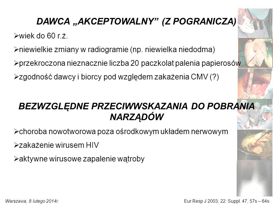 """Warszawa, 8 lutego 2014r. DAWCA """"AKCEPTOWALNY (Z POGRANICZA)  wiek do 60 r.ż."""