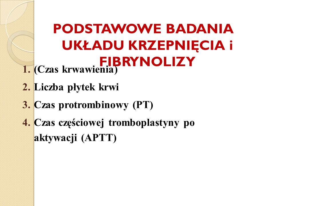 PODSTAWOWE BADANIA UKŁADU KRZEPNIĘCIA i FIBRYNOLIZY 1.(Czas krwawienia) 2.Liczba płytek krwi 3.Czas protrombinowy (PT) 4.Czas częściowej tromboplastyn