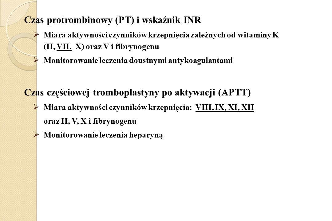 Czas protrombinowy (PT) i wskaźnik INR  Miara aktywności czynników krzepnięcia zależnych od witaminy K (II, VII, X) oraz V i fibrynogenu  Monitorowa