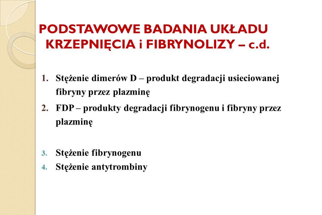 PODSTAWOWE BADANIA UKŁADU KRZEPNIĘCIA i FIBRYNOLIZY – c.d. 1.Stężenie dimerów D – produkt degradacji usieciowanej fibryny przez plazminę 2.FDP – produ