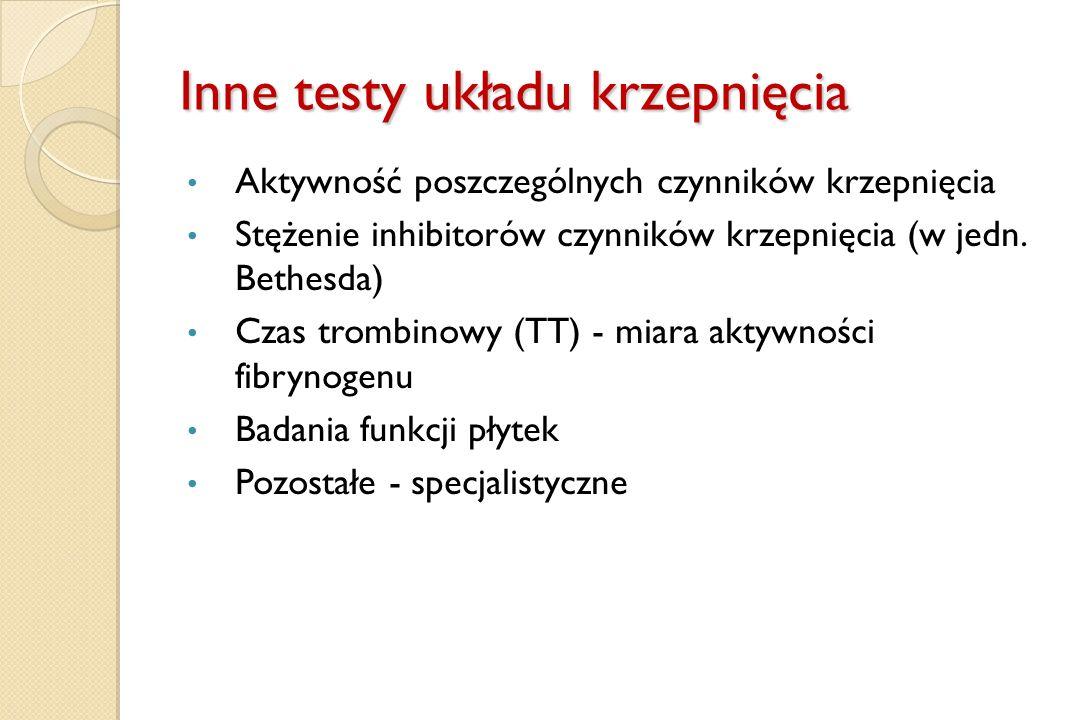 Inne testy układu krzepnięcia Aktywność poszczególnych czynników krzepnięcia Stężenie inhibitorów czynników krzepnięcia (w jedn. Bethesda) Czas trombi