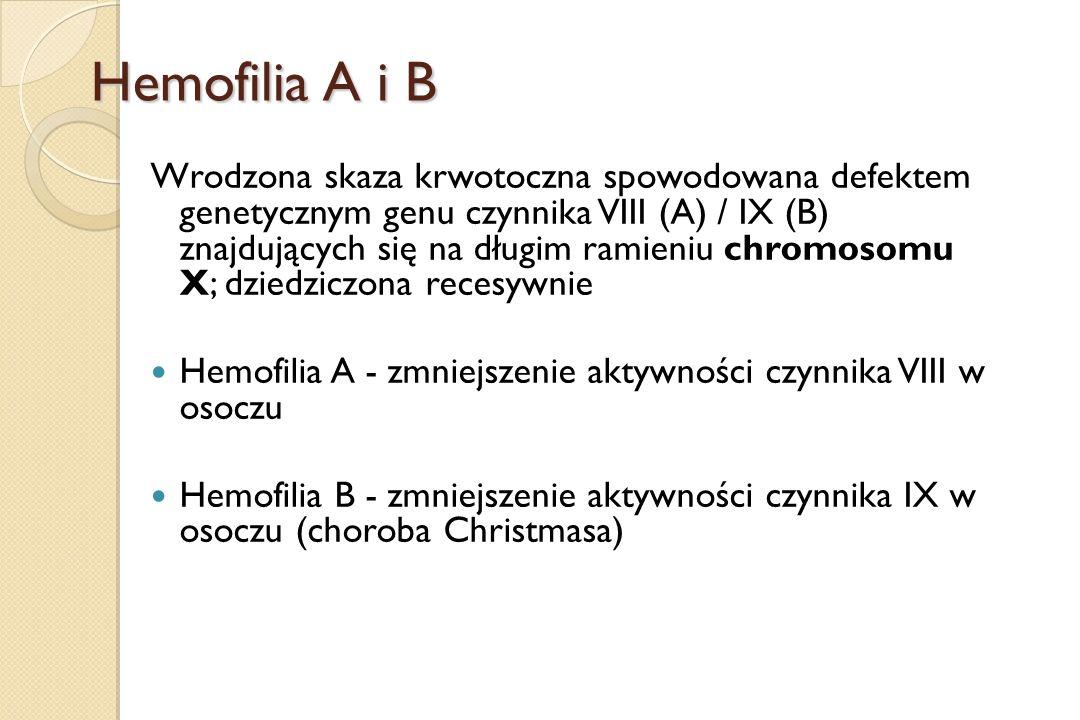 Hemofilia A i B Wrodzona skaza krwotoczna spowodowana defektem genetycznym genu czynnika VIII (A) / IX (B) znajdujących się na długim ramieniu chromos