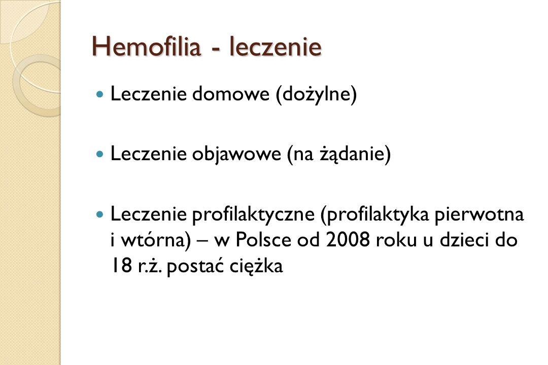 Hemofilia - leczenie Leczenie domowe (dożylne) Leczenie objawowe (na żądanie) Leczenie profilaktyczne (profilaktyka pierwotna i wtórna) – w Polsce od