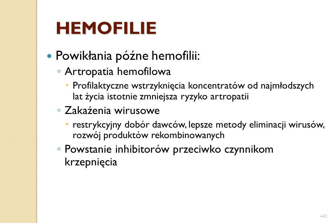 41 HEMOFILIE Powikłania późne hemofilii: ◦ Artropatia hemofilowa  Profilaktyczne wstrzyknięcia koncentratów od najmłodszych lat życia istotnie zmniej