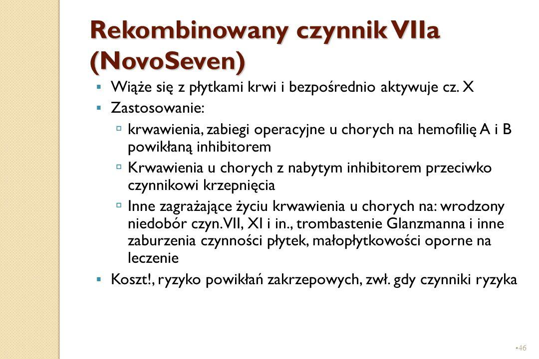 46 Rekombinowany czynnik VIIa (NovoSeven)  Wiąże się z płytkami krwi i bezpośrednio aktywuje cz. X  Zastosowanie:  krwawienia, zabiegi operacyjne u
