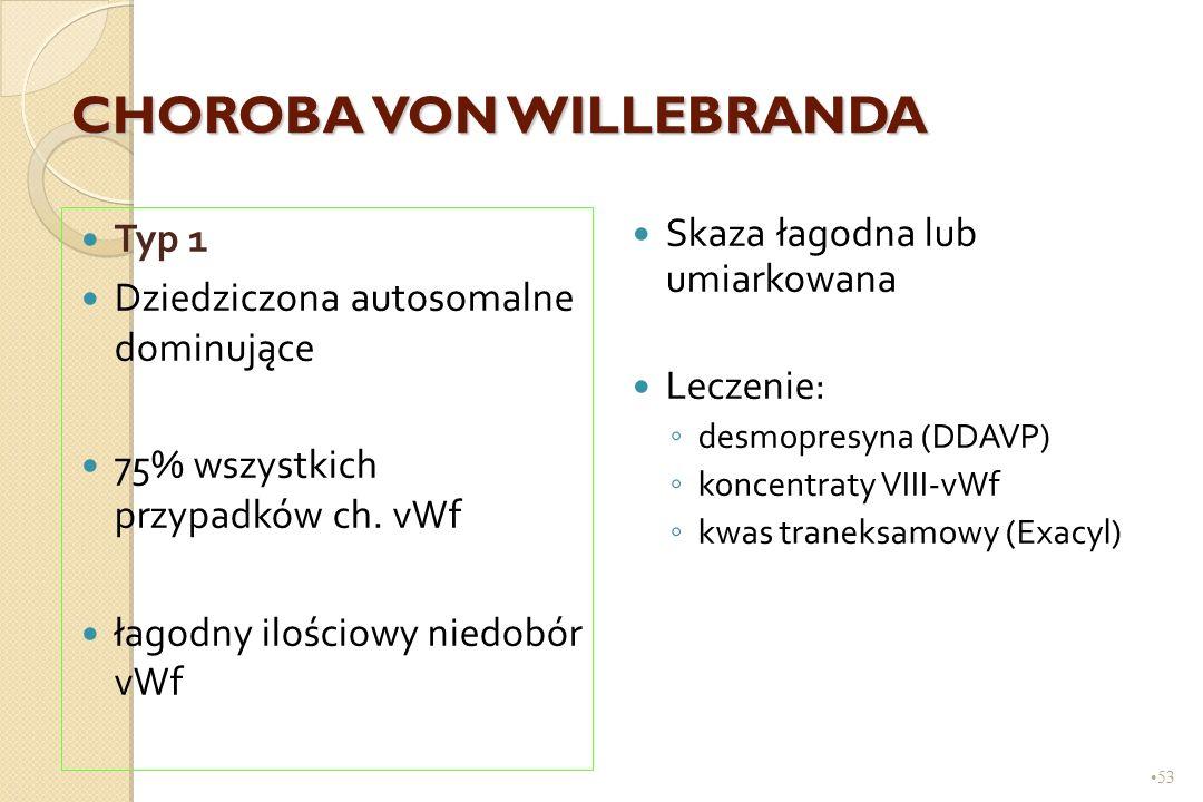 53 CHOROBA VON WILLEBRANDA Typ 1 Dziedziczona autosomalne dominujące 75% wszystkich przypadków ch. vWf łagodny ilościowy niedobór vWf Skaza łagodna lu