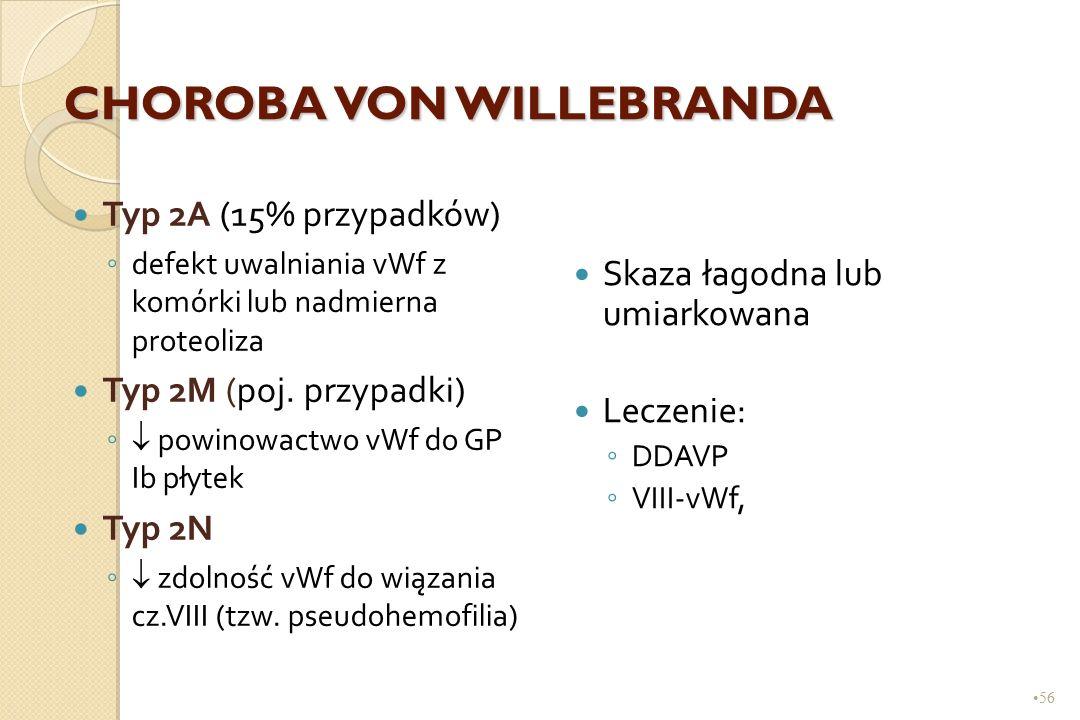 56 CHOROBA VON WILLEBRANDA Typ 2A (15% przypadków) ◦ defekt uwalniania vWf z komórki lub nadmierna proteoliza Typ 2M (poj. przypadki) ◦ powinowactwo