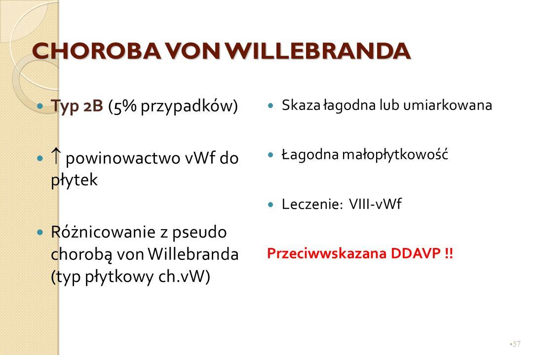 57 CHOROBA VON WILLEBRANDA Typ 2B (5% przypadków)  powinowactwo vWf do płytek Różnicowanie z pseudo chorobą von Willebranda (typ płytkowy ch.vW) Skaz