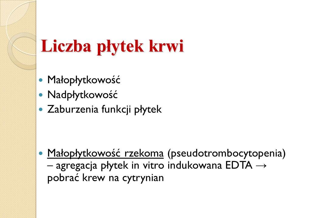 Liczba płytek krwi Małopłytkowość Nadpłytkowość Zaburzenia funkcji płytek Małopłytkowość rzekoma (pseudotrombocytopenia) – agregacja płytek in vitro i